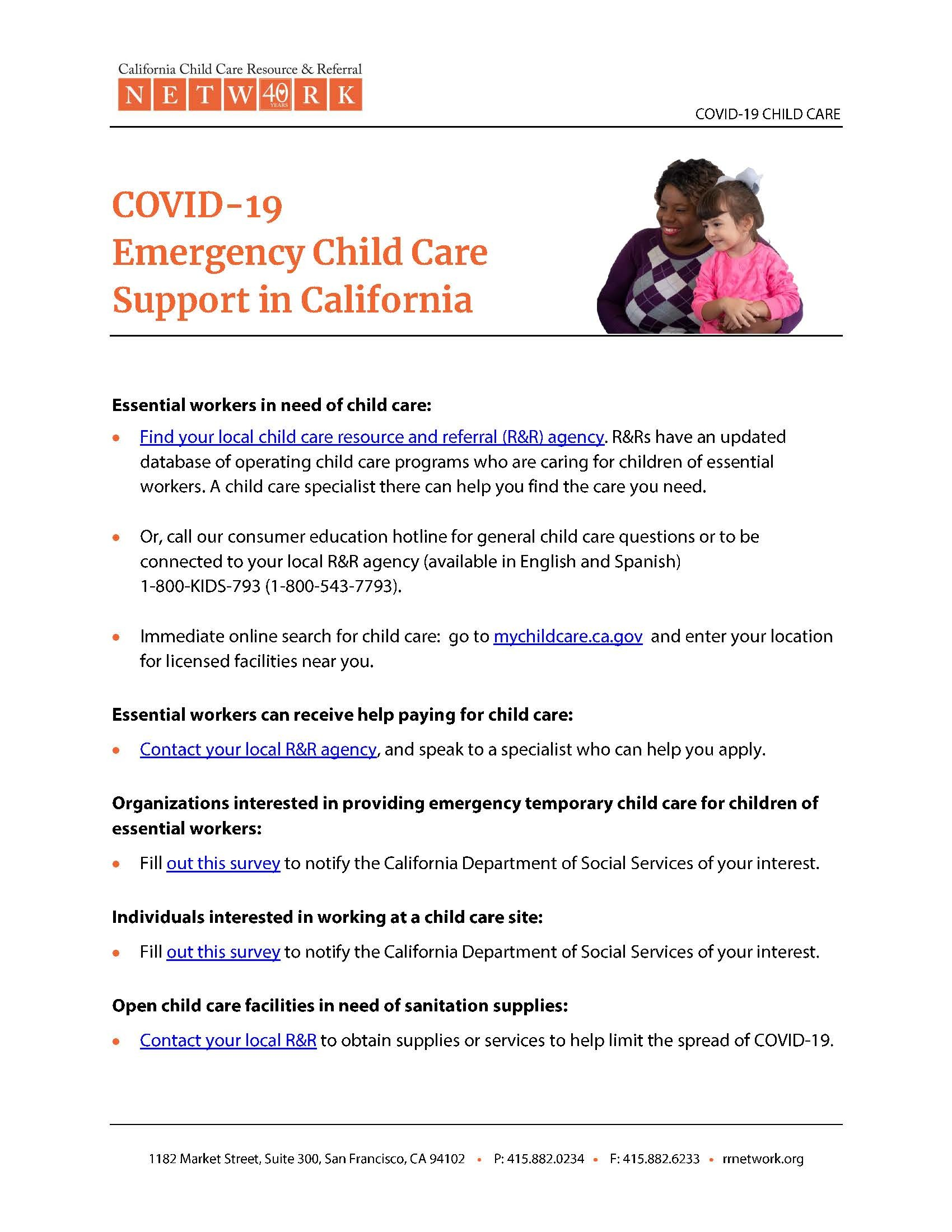 Covid19 Emergency Child Care Support in California