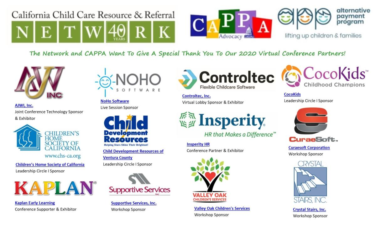 Thank you to all 2020 Virtual Conference Partners! | Image of Partner Logos