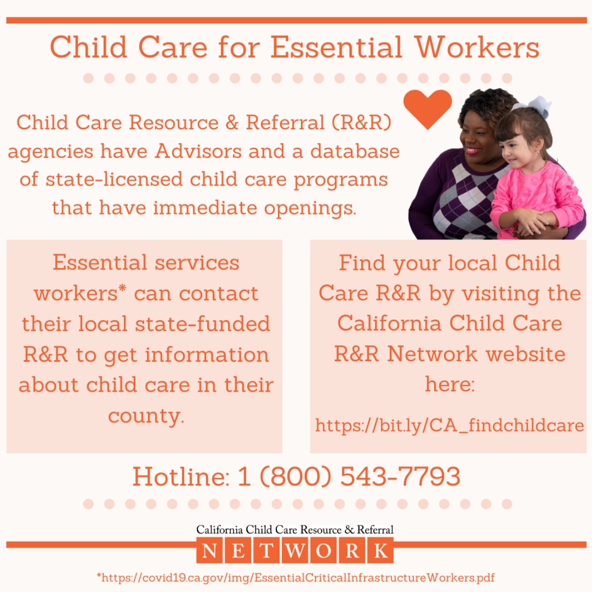 Child Care for Essential Workers | Hotline: 1(800)543-7793